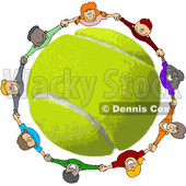 Clipart of a Circle of Happy Children Holding Hands, Looking up and Smiling Around a Tennis Ball - Royalty Free Vector Illustration © djart #1402240