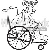 Clipart of a Black and White Lineart Injured Accident Prone Moose in a Wheelchair - Royalty Free Vector Illustration © djart #1402903