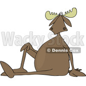 Clipart of a Cartoon Moose Sitting on the Ground with One Leg up - Royalty Free Vector Illustration © djart #1403462