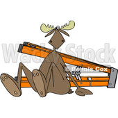 Clipart of a Cartoon Moose After Falling off of a Ladder - Royalty Free Vector Illustration © djart #1403583
