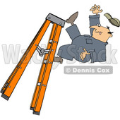 Clipart of a Cartoon Caucasian Male Worker Falling off of a Ladder - Royalty Free Vector Illustration © djart #1403585