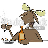Clipart of a Cartoon Moose Smoking and Drinking a Beer - Royalty Free Vector Illustration © djart #1403989