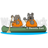 Two Dogs in Lifejackets Paddling a Canoe and Looking Back Clipart Illustration © Dennis Cox #14060