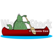 Green Dino Paddling a Red Canoe Clipart Illustration © Dennis Cox #14063