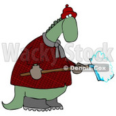 Green Dino in a Coat and Hat, Shoveling Snow in Winter Clipart Illustration © Dennis Cox #14064