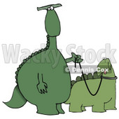Green Dino Standing Upright and Walking His Pet Dino on a Leash Clipart Illustration © Dennis Cox #14065