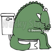 Green Dino Covering His Mouth or Nose While Sitting on a Toilet Clipart Illustration © djart #14067