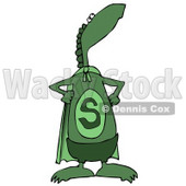 Green Super Dino in a Cape, Standing Proud Clipart Illustration © djart #14069