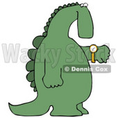 Green Dino Looking at His Wrist Watch to Check the Time Clipart Illustration © Dennis Cox #14070