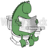Green Dino Sitting on a Toilet and Reading a Newspaper in a Bathroom Clipart Illustration © djart #14071
