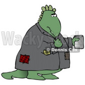 Homeless Green Dinosaur Wearing a Patched Jacket and Holding a Cup Out for Spare Change Clipart Illustration © Dennis Cox #14072