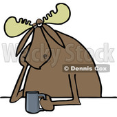 Clipart of a Cartoon Depressed or Tired Moose Sitting with a Cup of Coffee - Royalty Free Vector Illustration © djart #1407269