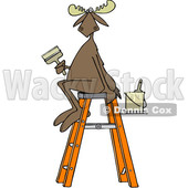 Clipart of a Cartoon Painter Moose Sitting on a Ladder and Holding a Brush - Royalty Free Vector Illustration © Dennis Cox #1407271