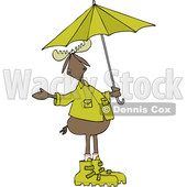 Clipart of a Cartoon Moose in Rain Gear, Holding an Umbrella - Royalty Free Vector Illustration © djart #1407273