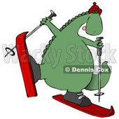 Happy Dinosaur Skiing Clipart Illustration © Dennis Cox #14073