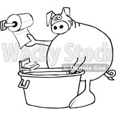 Clipart of a Cartoon Black and White Lineart Pig Washing His Hands in a Tub and Reaching for Paper Towels - Royalty Free Vector Illustration © djart #1407366