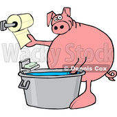 Clipart of a Cartoon Pig Washing His Hands in a Tub and Reaching for Paper Towels - Royalty Free Vector Illustration © djart #1407367