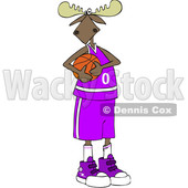 Clipart of a Cartoon Moose Basketball Player in a Purple Uniform - Royalty Free Vector Illustration © djart #1407368
