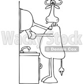 Clipart of a Cartoon Black and White Lineart Cow Grabbing Paper Towels After Washing His Hands - Royalty Free Vector Illustration © djart #1407370