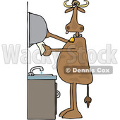 Clipart of a Cartoon Cow Grabbing Paper Towels After Washing His Hands - Royalty Free Vector Illustration © djart #1407371