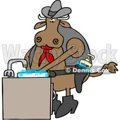 Clipart of a Cartoon Cowboy Cow Washing His Hands in a Sudsy Sink, with Soap in His Gun Holster - Royalty Free Vector Illustration © Dennis Cox #1407372