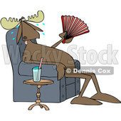 Clipart of a Cartoon Hot Sweaty Moose Sitting in a Chair and Fanning Himself by a Cup of Water - Royalty Free Vector Illustration © djart #1407373
