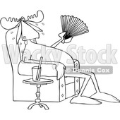 Clipart of a Cartoon Black and White Lineart Hot Sweaty Moose Sitting in a Chair and Fanning Himself by a Cup of Water - Royalty Free Vector Illustration © djart #1407374