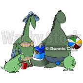 Happy Green Dinosaur Family Having Fun at the Beach Clipart Illustration © Dennis Cox #14074