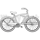 Clipart of a Cartoon Black and White Lineart Bicycle - Royalty Free Vector Illustration © djart #1407561