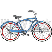 Clipart of a Cartoon Blue Bicycle - Royalty Free Vector Illustration © djart #1407562