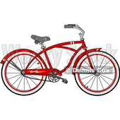 Clipart of a Cartoon Red Bicycle - Royalty Free Vector Illustration © djart #1407563