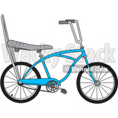 Clipart of a Cartoon Blue Stingray Bicycle - Royalty Free Vector Illustration © djart #1407984