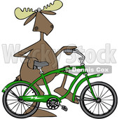 Clipart of a Cartoon Moose Pushing a Green Bicycle - Royalty Free Vector Illustration © djart #1407985