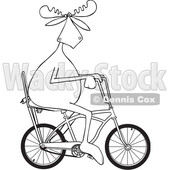 Clipart of a Cartoon Black and White Lineart Moose Riding a Stingray Bicycle - Royalty Free Vector Illustration © djart #1407987