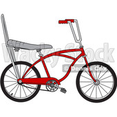 Clipart of a Cartoon Red Stingray Bicycle - Royalty Free Vector Illustration © djart #1407988