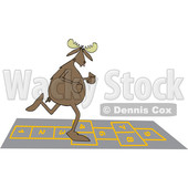 Clipart of a Cartoon Moose Playing Hopscotch - Royalty Free Vector Illustration © djart #1408687