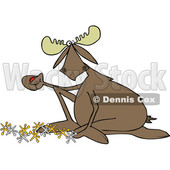 Clipart of a Cartoon Moose Playing with Jacks - Royalty Free Vector Illustration © djart #1408688