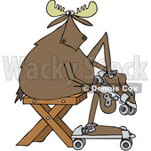 Clipart of a Cartoon Moose Sitting and Putting on Roller Skates - Royalty Free Vector Illustration © djart #1408689