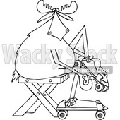 Clipart of a Cartoon Black and White Lineart Moose Sitting and Putting on Roller Skates - Royalty Free Vector Illustration © djart #1408690