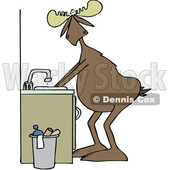 Clipart of a Cartoon Moose Washing His Hands - Royalty Free Vector Illustration © djart #1408691