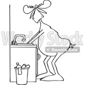 Clipart of a Cartoon Black and White Lineart Moose Washing His Hands - Royalty Free Vector Illustration © djart #1408692