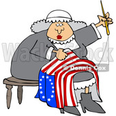 Clipart of a Cartoon Woman, Betsy Ross, Sewing a Flag - Royalty Free Vector Illustration © djart #1409540