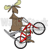 Clipart of a Cartoon Moose Popping a Wheelie on a Stingray Bicycle - Royalty Free Vector Illustration © djart #1409542