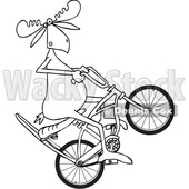 Clipart of a Cartoon Black and White Lineart Moose Popping a Wheelie on a Stingray Bicycle - Royalty Free Vector Illustration © djart #1409543