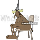 Cartoon Clipart of a Moose Wearing a Dunce Hat and Sitting in a Chair - Royalty Free Vector Illustration © djart #1409753
