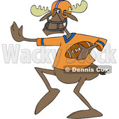 Cartoon Clipart of a Moose Football Player - Royalty Free Vector Illustration © djart #1409754