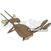 Cartoon Clipart of a Moose Playing on a Swing - Royalty Free Vector Illustration © djart #1409755