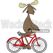 Cartoon Clipart of a Moose Sitting on Handelbars and Riding a Bicycle Backwards - Royalty Free Vector Illustration © djart #1409756