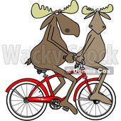 Cartoon Clipart of a Moose Couple Riding a Bicycle, One on the Handlebars - Royalty Free Vector Illustration © Dennis Cox #1409757