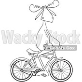 Cartoon Clipart of a Black and White Lineart Moose Sitting on Handelbars and Riding a Bicycle Backwards - Royalty Free Vector Illustration © djart #1409762